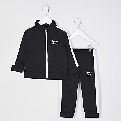 Mini boys black Reebok tracksuit outfit