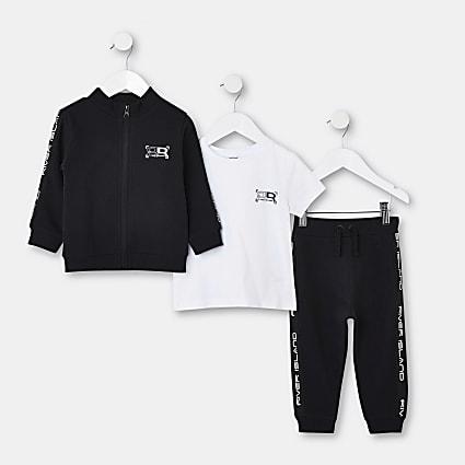 Mini boys black RI 3 piece tracksuit outfit