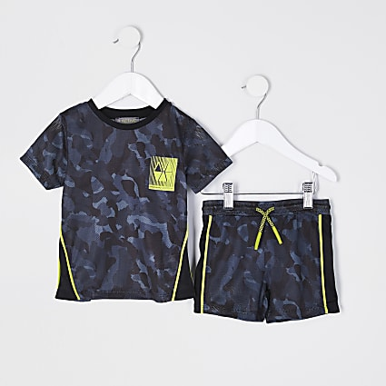 Mini boys black RI Active camo mesh outfit