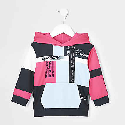 Mini boys black RI Active colour block hoodie
