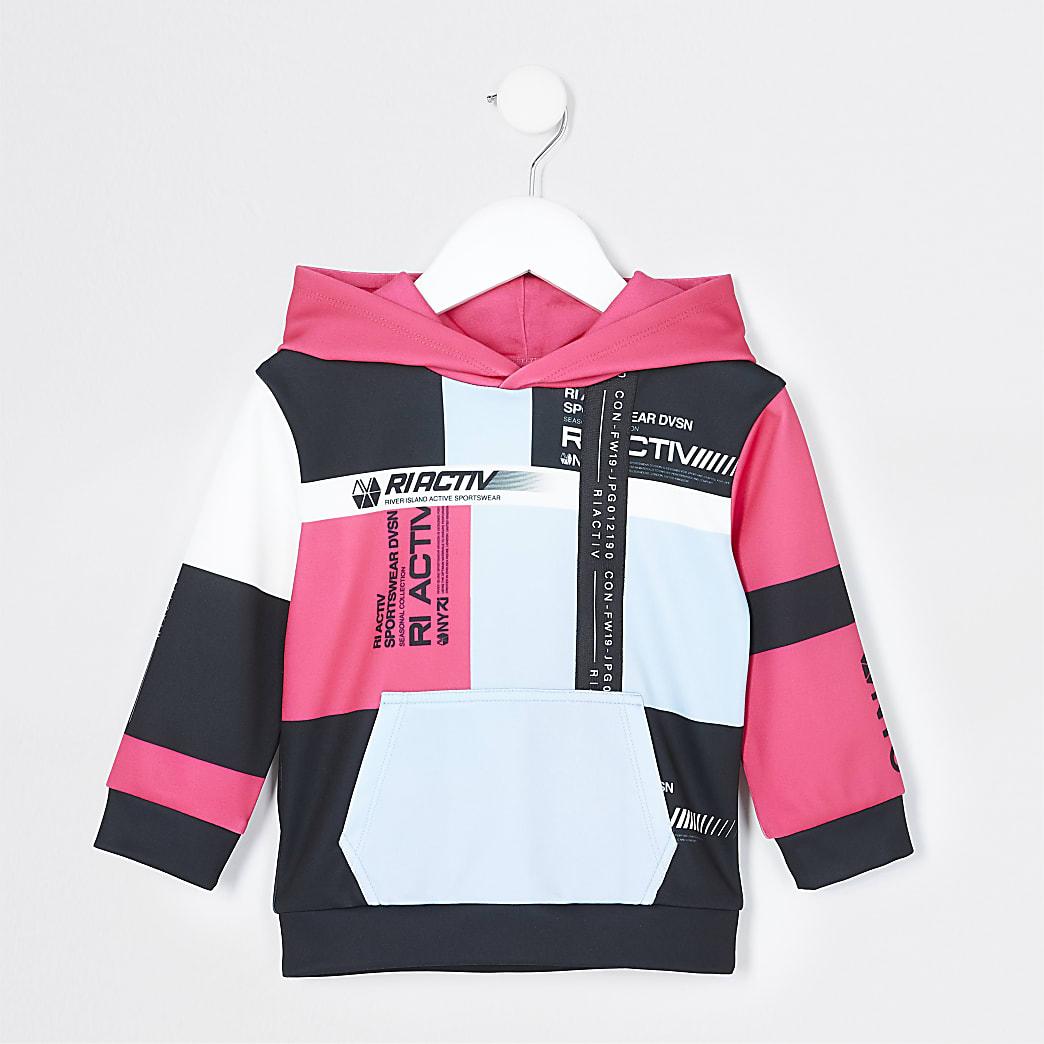 Mini boys black RI Active colour block hoodie