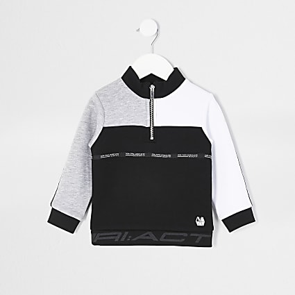 Mini boys black RI Active funnel sweatshirt