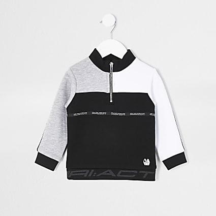 Mini boys black RI Active funnel sweatshirt