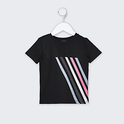 Mini boys black RI Active stripe t-shirt