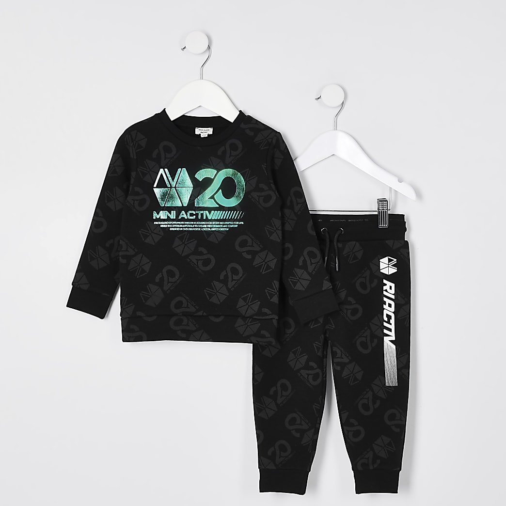 Mini boys black RI Active sweat tracksuit