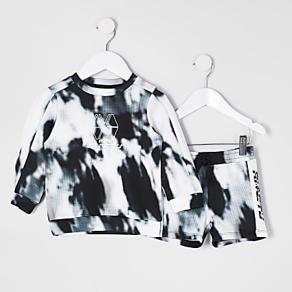 Mini boys black RI Active tie dye outfit