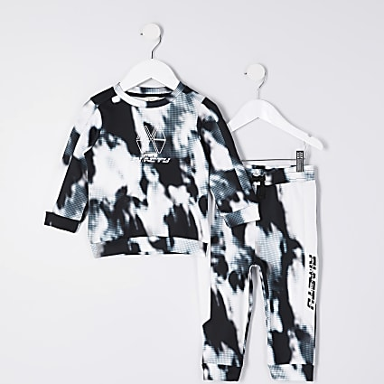 Mini boys black RI Active tie dye tracksuit