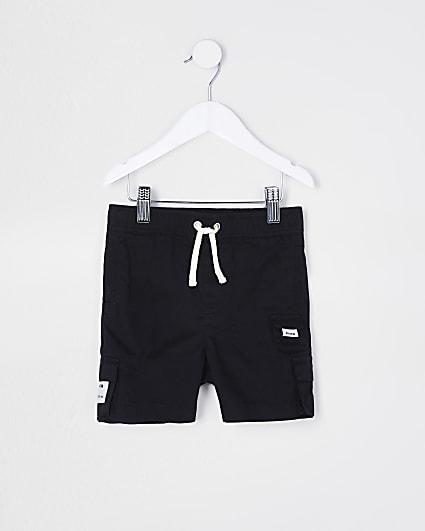 Mini boys black RI cargo shorts