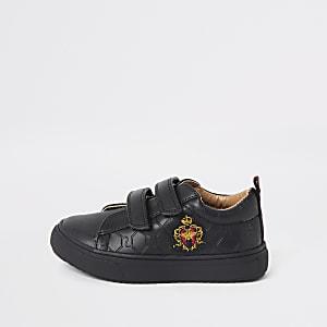 Mini – Schwarze Sneaker mit RI-Wappen-Monogramm für Jungen
