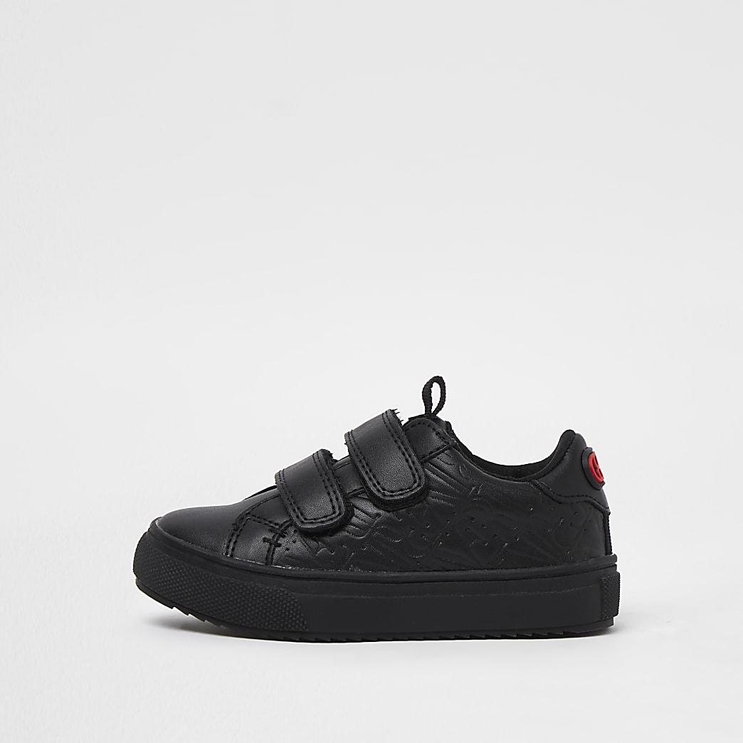 Mini boys black RI embossed trainers