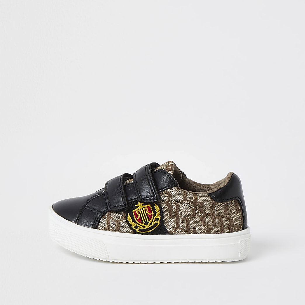 Mini boys black RI jacquard trainers