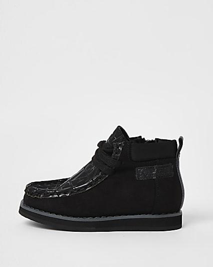 Mini boys black RI lace up boots