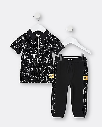 Mini boys black RI monogram 2 piece outfit