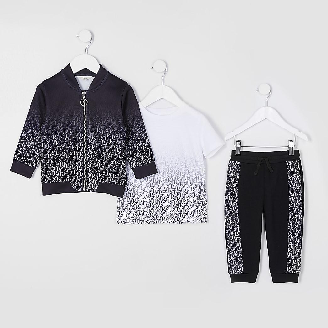 Mini boys black Ri monogram 3 piece outfit