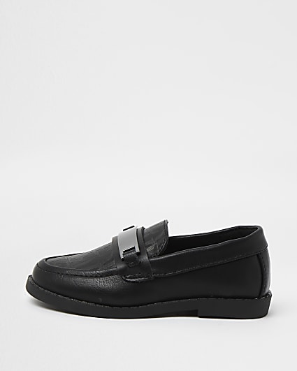 Mini boys black RI monogram loafers