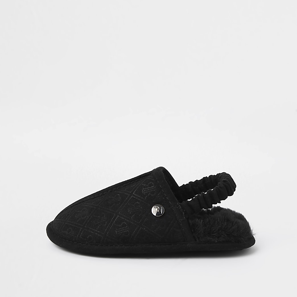 Mini boys black RI monogram mule slippers