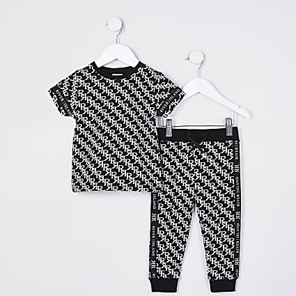 Mini boys black RI monogram outfit