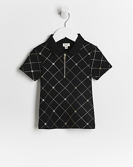 Mini boys black RI monogram polo shirt