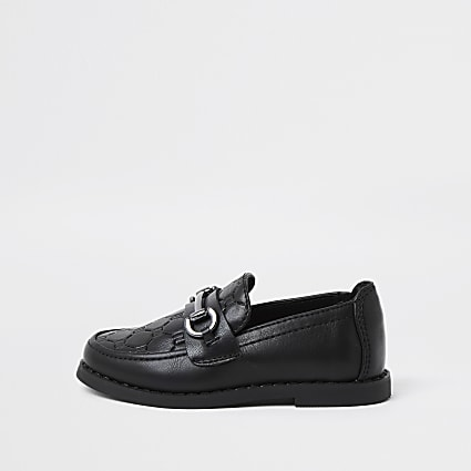 Mini boys black RI monogram snaffle loafers