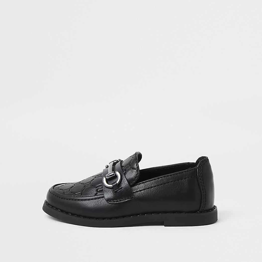 Mini boys black RI monogram snaffle loafers