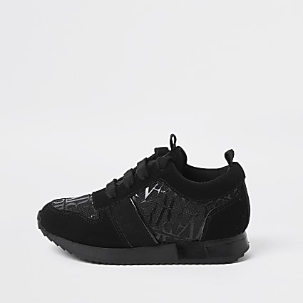 Mini boys black RI monogram trainers