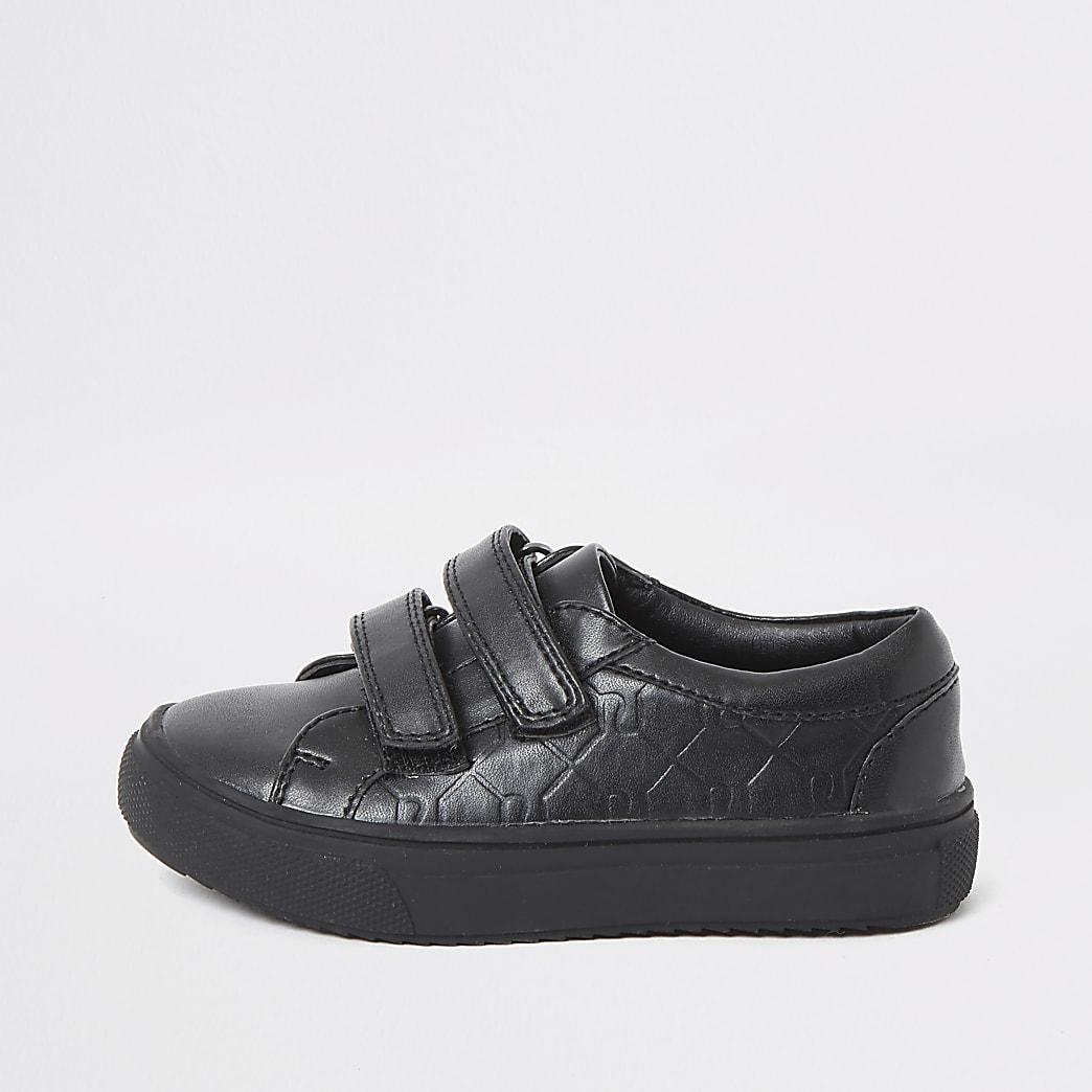 Mini boys black RI monogram velcro trainers