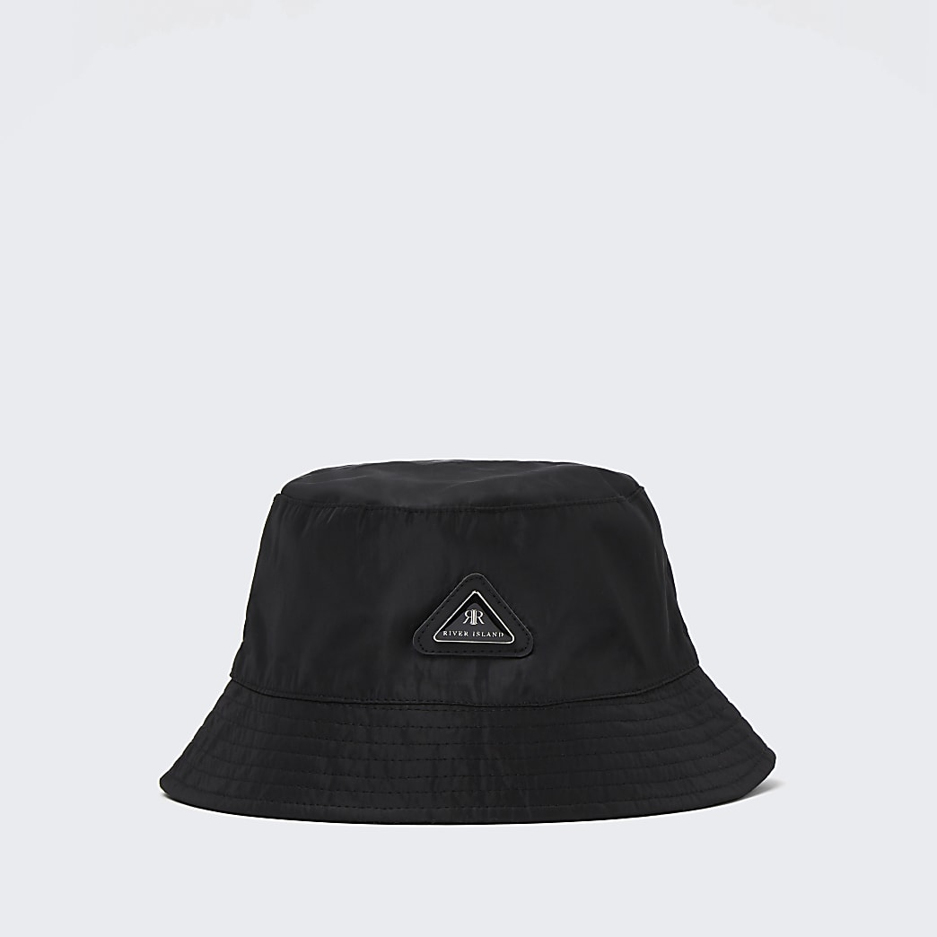 Mini boys black RI nylon bucket hat