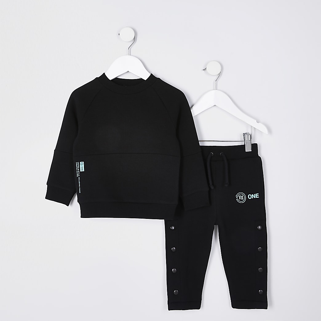 Mini boys black RI One sweatshirt outfit