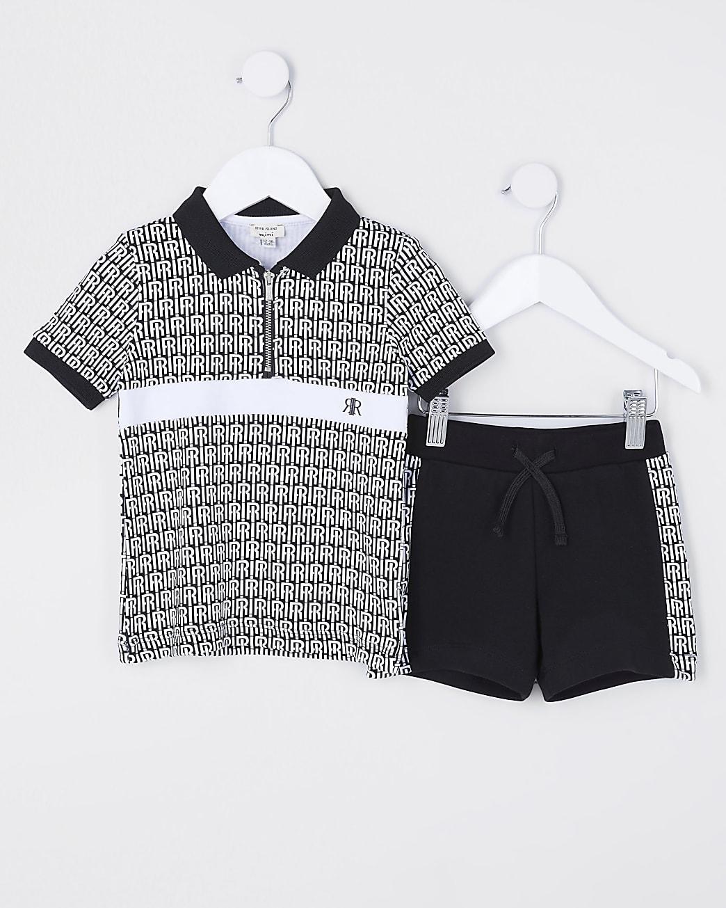 Mini boys black RI polo shirt and short set