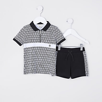 Mini boys black RI polo shirt and short set