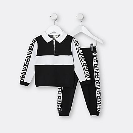 Mini boys black RI polo top and joggers set