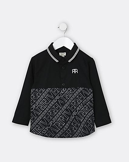 Mini boys black RI print rib polo shirt