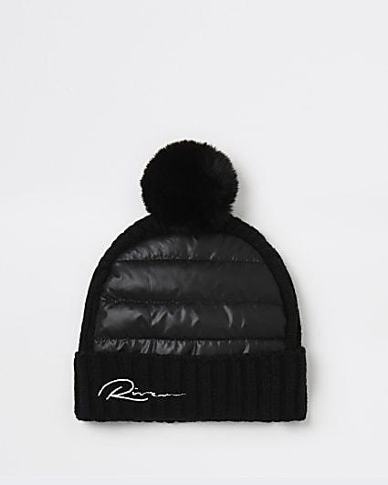 Mini boys black RI quilted beanie hat