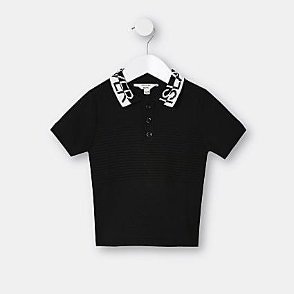Mini boys black RI short sleeve polo top