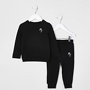 Mini - Outfit met zwart sweatshirt met RI-logo voor jongens