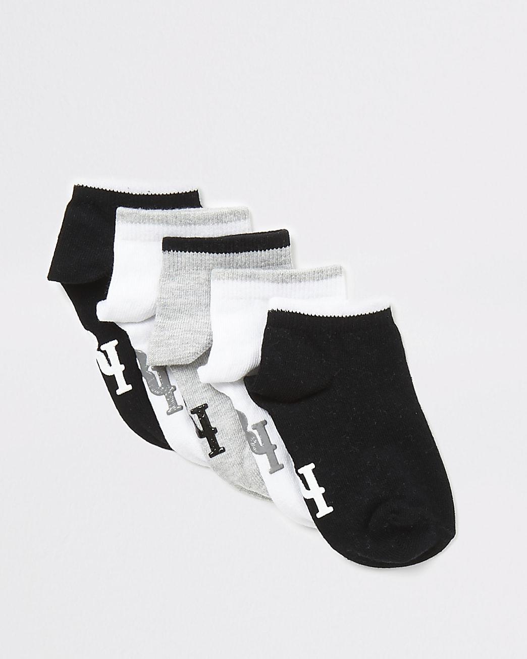 Mini boys black RI trainer socks 5 pack