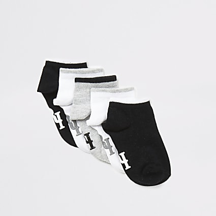 Mini boys black RI trainer socks 5 pack