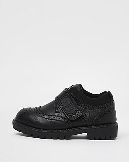 Mini boys black RI velcro brogue shoes
