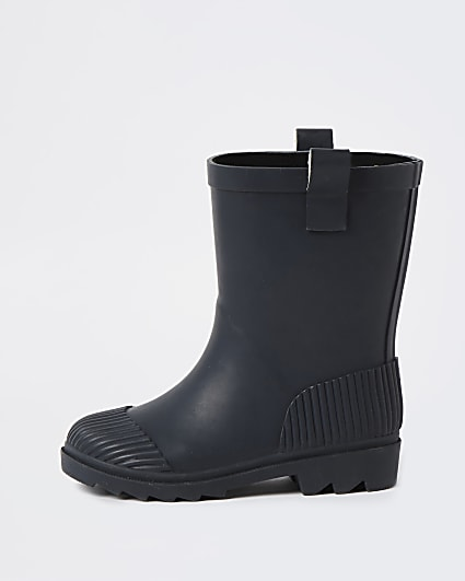 Mini boys black ribbed wellie boots