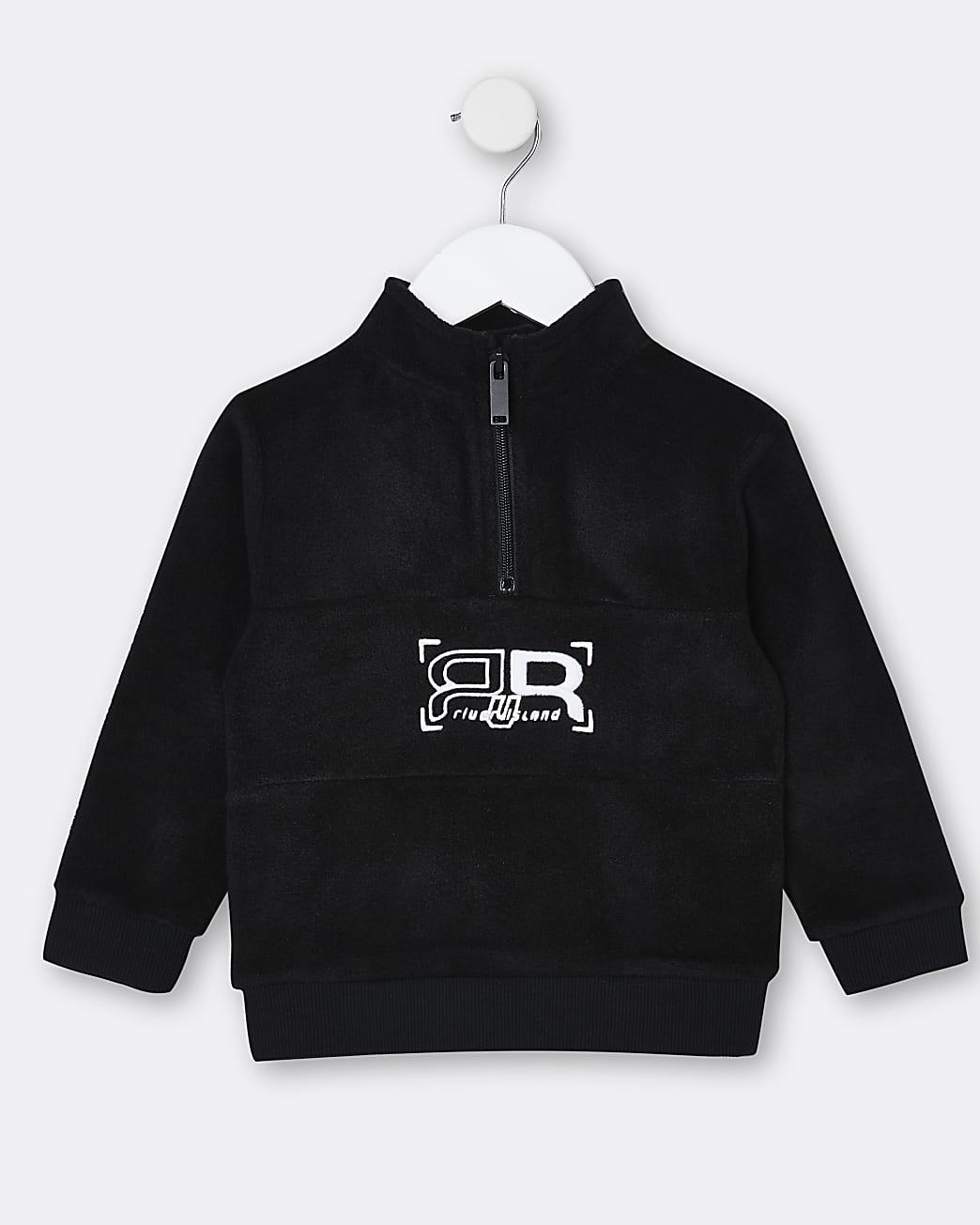 Mini boys black RIR fleece sweatshirt