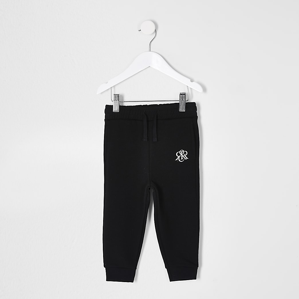 Mini boys black RIR printed joggers