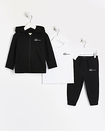 Mini boys black River hoodie 3 piece outfit