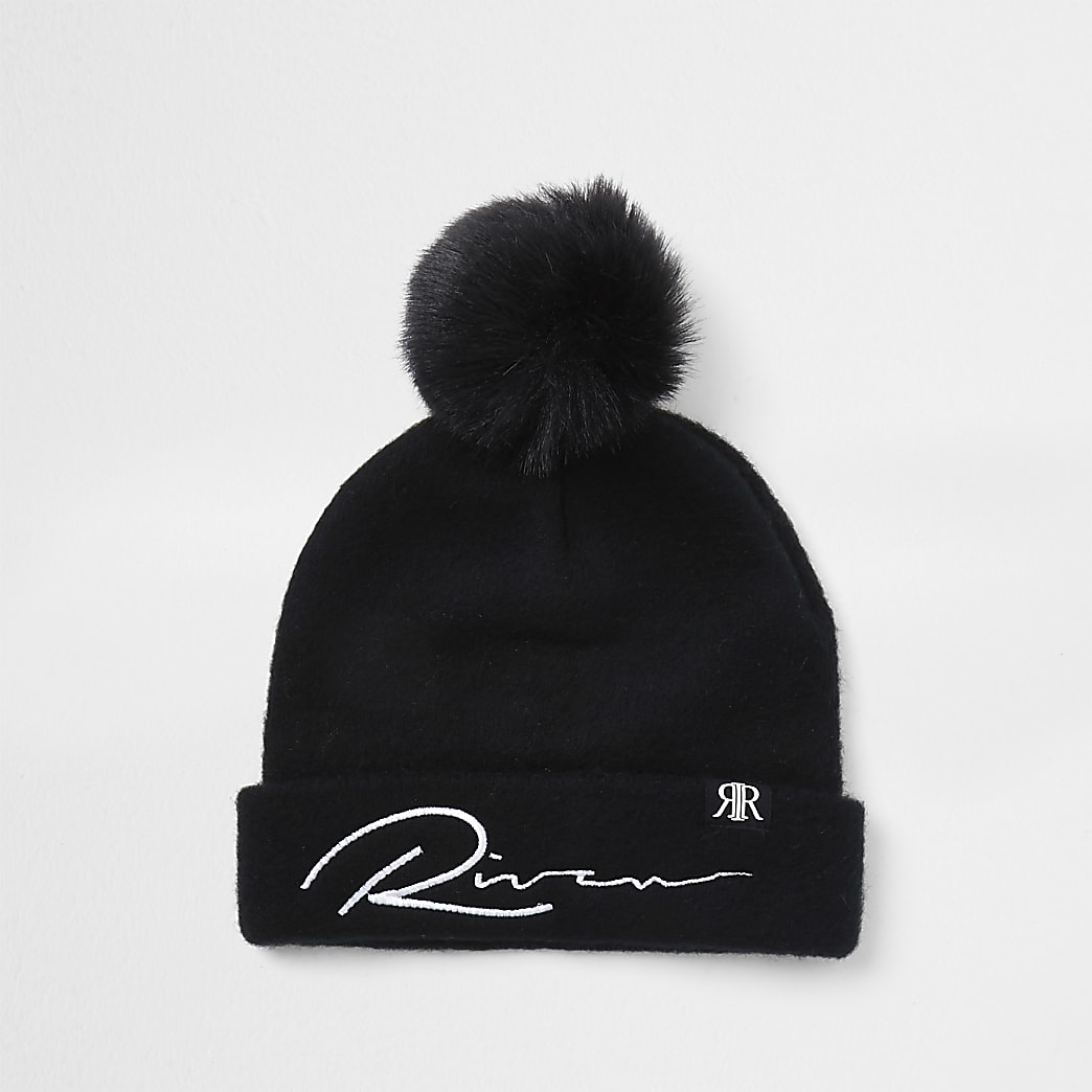 Mini boys black river mono beanie