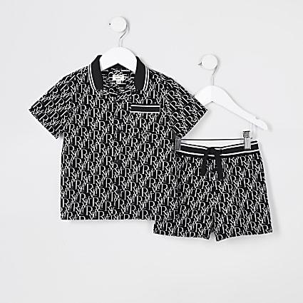 Mini boys black River monogram outfit