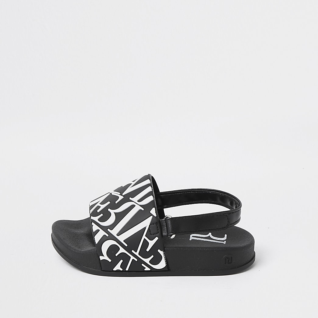 Mini boys black 'River' print sliders