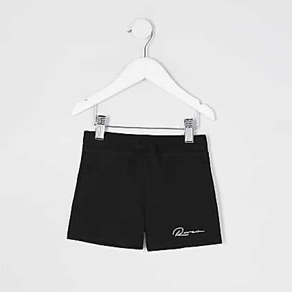 Mini boys black 'River' shorts