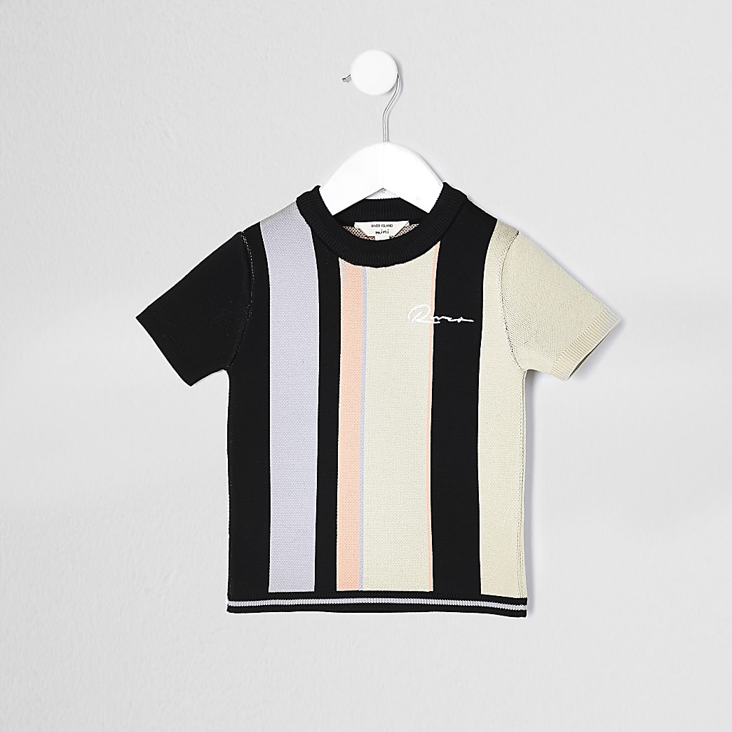 Mini boys black river striped t-shirt
