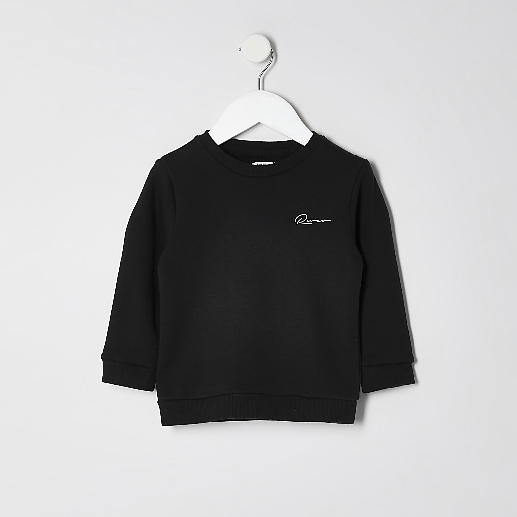 Mini boys black 'River' sweatshirt