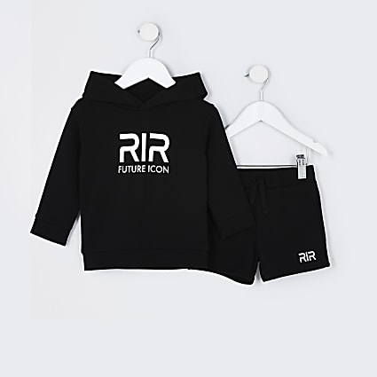 Mini boys black RR hoodie outfit