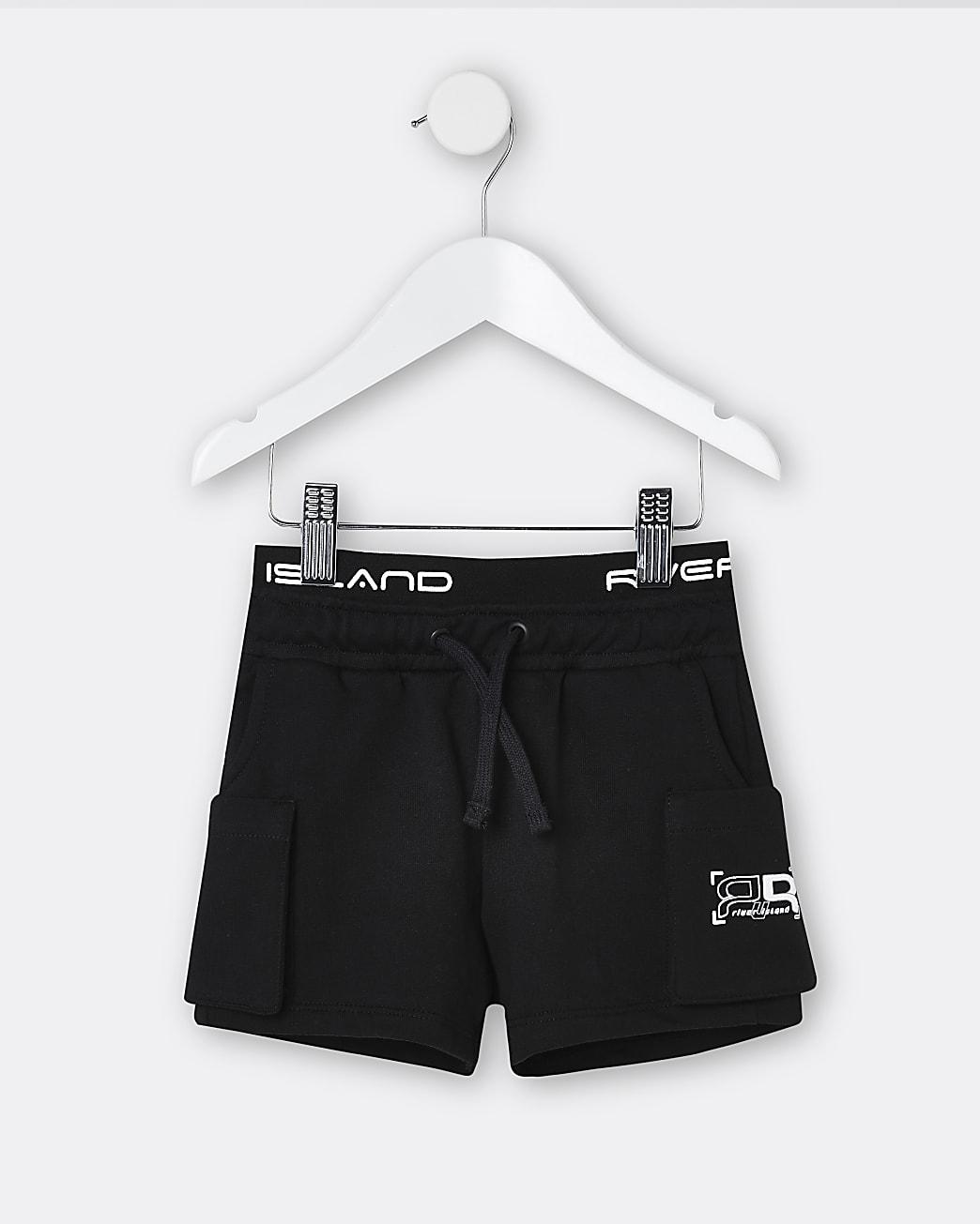 Mini boys black RR waistband shorts